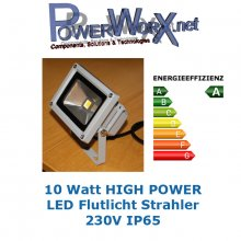 FLUTLICHT 10W POWER LED STRAHLER IP64 230Volt Warmweiß ca. 900Lm