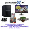 PowerWorx Entry Gamer Komplett-Set Ryzen 3200G, 8GB RAM, 240GB SSD inkl. 22 Zoll Full HD TFT Monitor