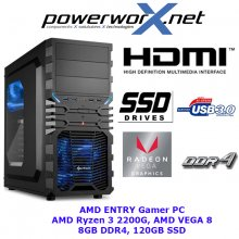 AMD ENTRY GAMER KOMPLETT PC AMD QUAD CORE RYZEN 3 2200G 8GB Radeon VEGA 8 Graphikpower 120GB SSD USB3.0 COMPUTER